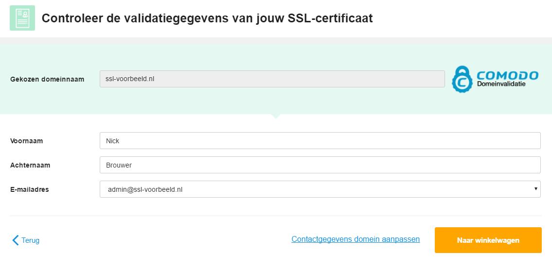 Pas hier eventueel de gegevens van jouw certificaat aan
