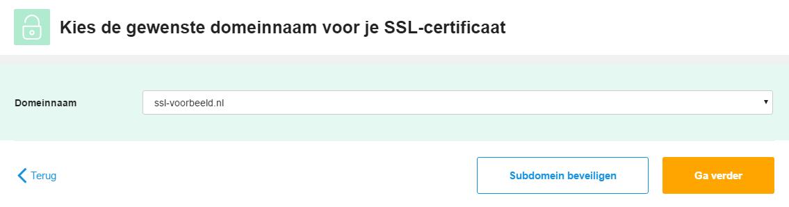 Kies hier voor welk domein je het certificaat wil bestellen