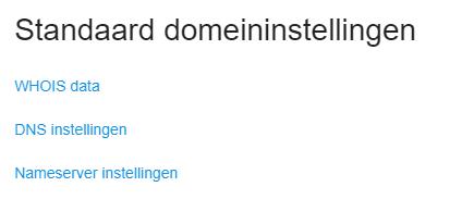 Standaard domeininstellingen