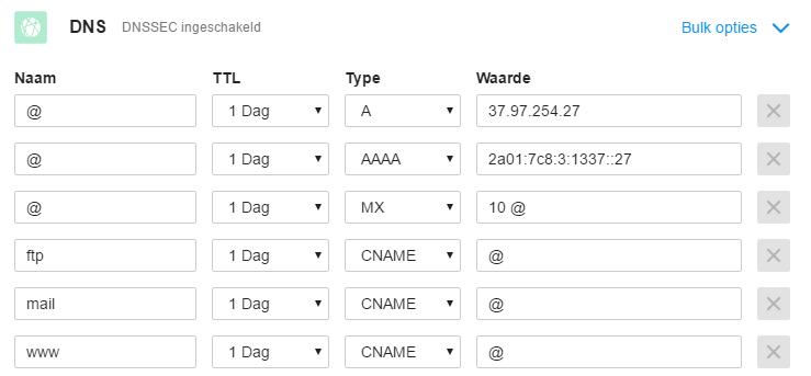Voorbeeld van jouw DNS records