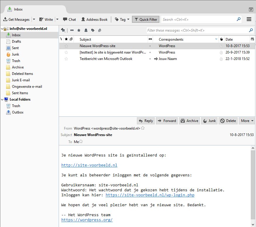 Open Thunderbird en klik op de e-mail