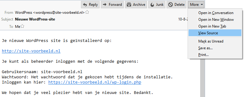 Klik op 'More' > 'View Source'
