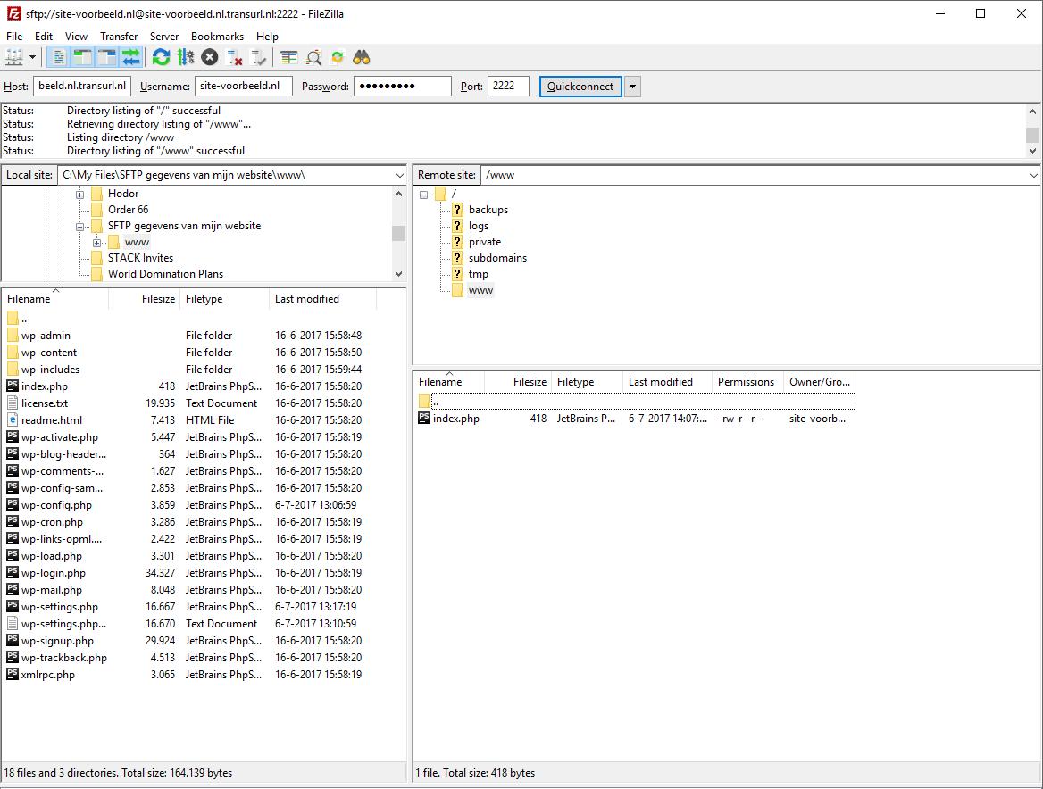 Upload de backup van de bestanden van je website