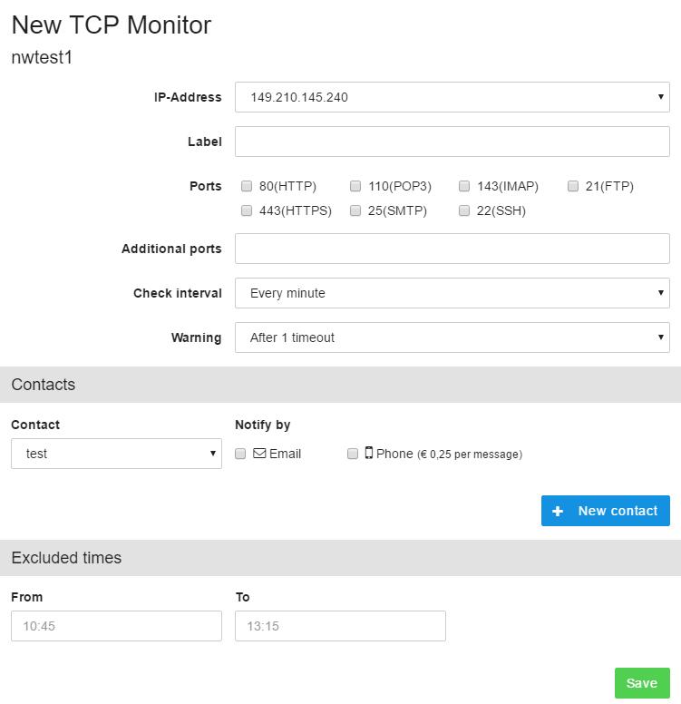 TCP monitoring