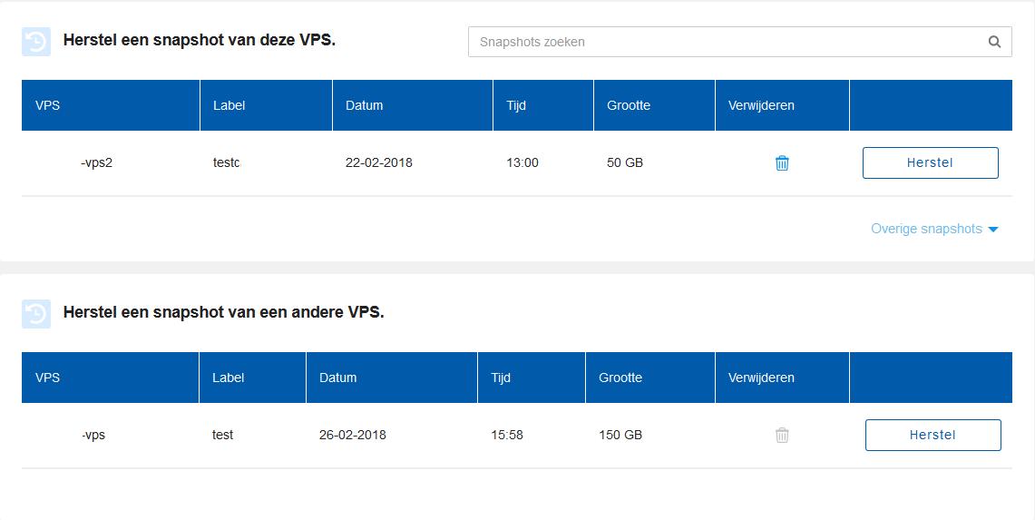 VPS snapshot selecteren