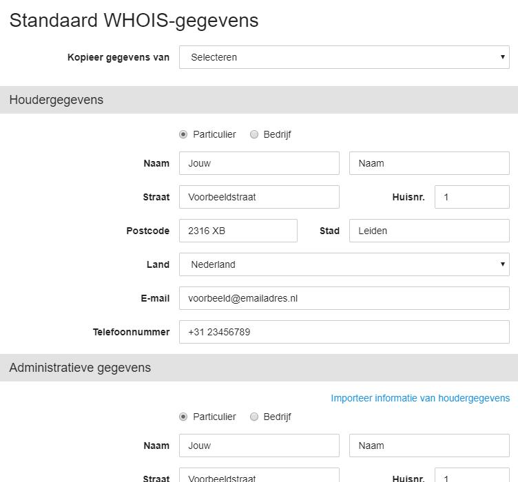 Standaard WHOIS-gegevens