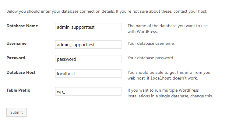 WordPress_database_settings