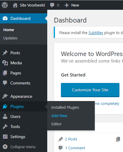 Klik in het WordPress dashboard op 'Add new'