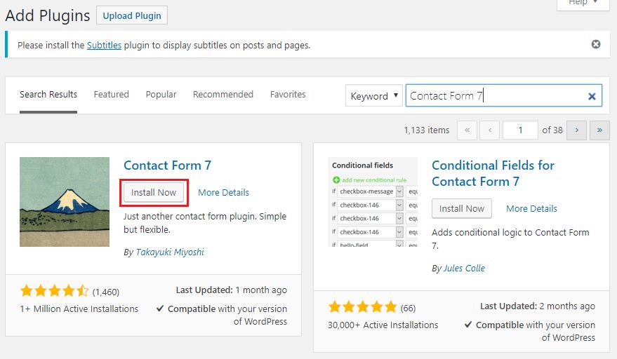 Zoek naar 'Contact Form 7' en klik op 'Install Now'