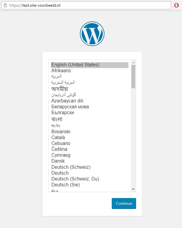 WordPress is geïnstalleerd op jouw subdomein