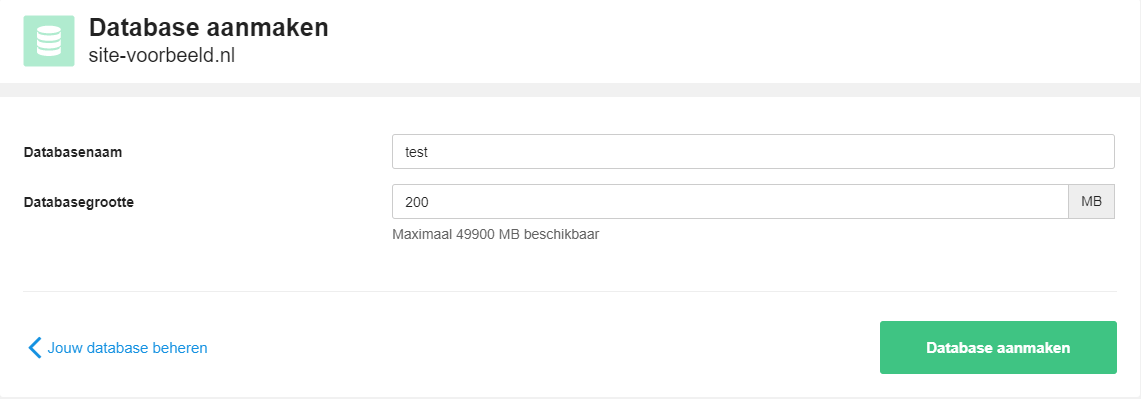 Maak een database aan voor jouw subdomein