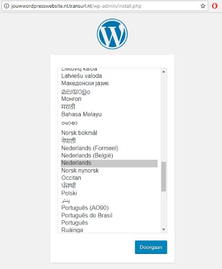 Kies de taal van je WordPress installatie