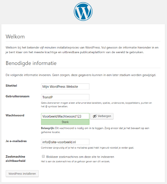 Installeer WordPress