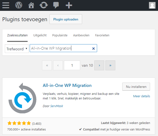 Zoek naar 'All-in-One WP Migration'
