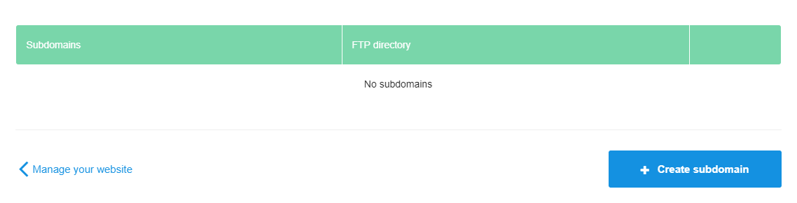 Create your subdomain