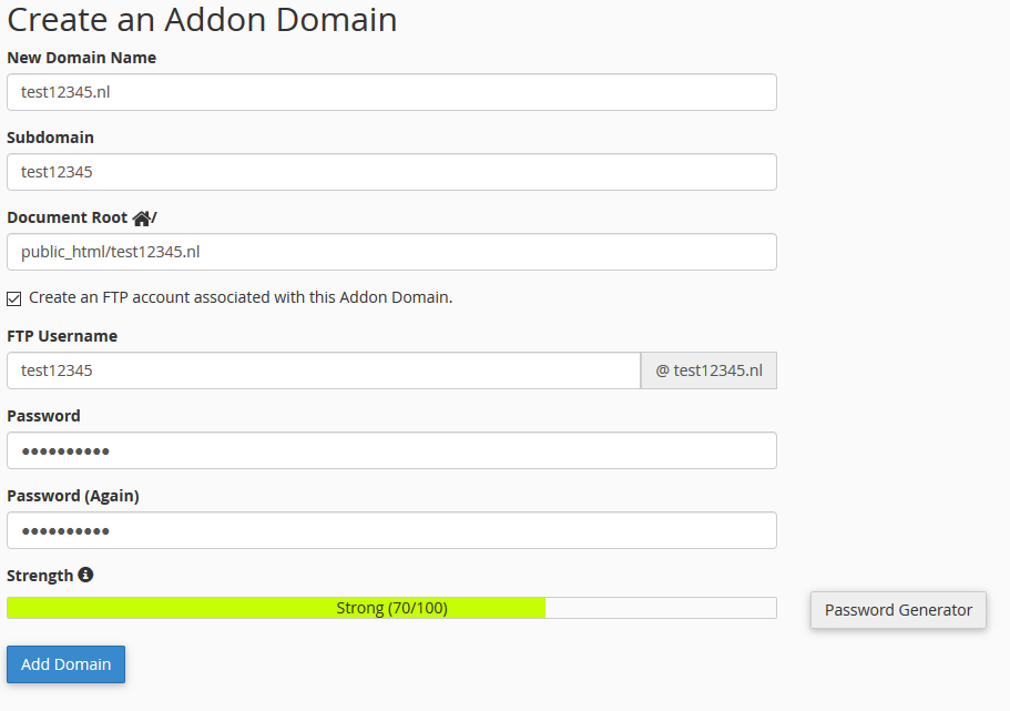 cpanel create addon domain