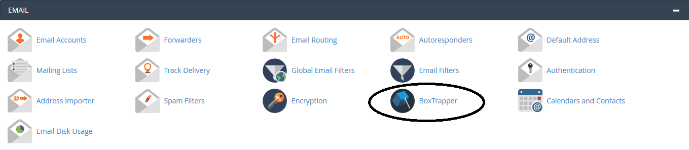 cpanel email boxtrapper button