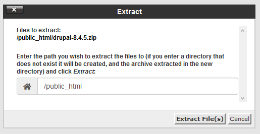 cPanel extract Drupal zip contents