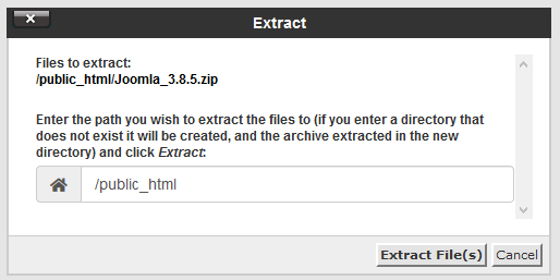 cPanel extract zip contents