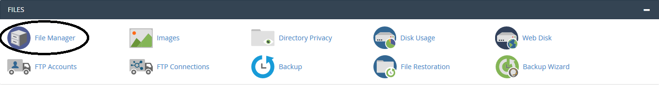 cPanel file manager knop