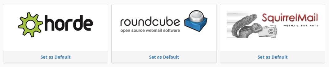 cpanel webmail set default