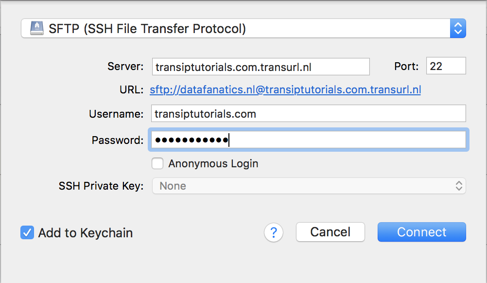 Fill in the SFTP information