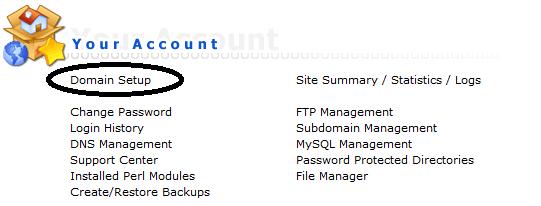 directadmin domain setup
