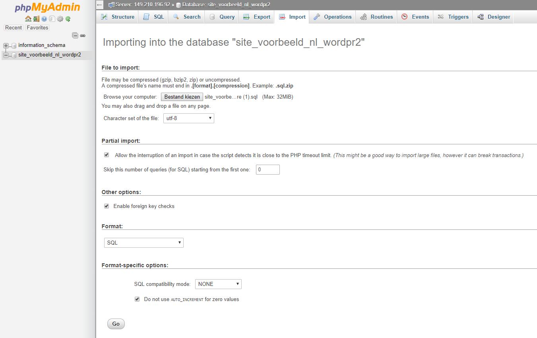 Kies je database en klik op 'Go'