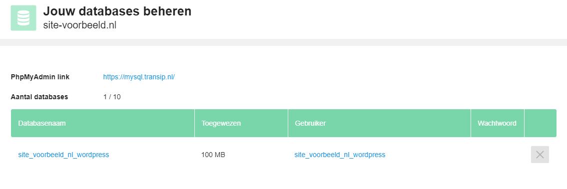 Ga naar 'Databases' en klik op de databasenaam