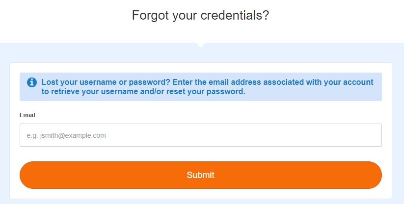 Forgot login credentials