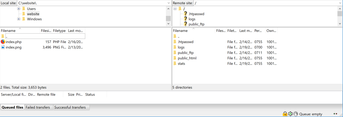 filezilla folder navigation