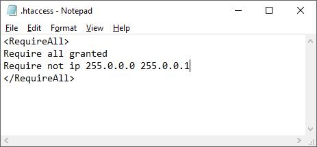 Voorbeeld van een .htaccess bestand