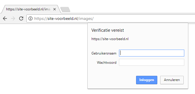De map van je website is nu beveiligd