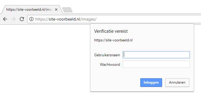 De map van je website is nu beveiligd
