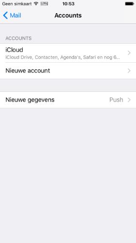 Kies 'Nieuwe account'