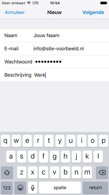 Vul de algemene gegevens in van jouw e-mailaccount