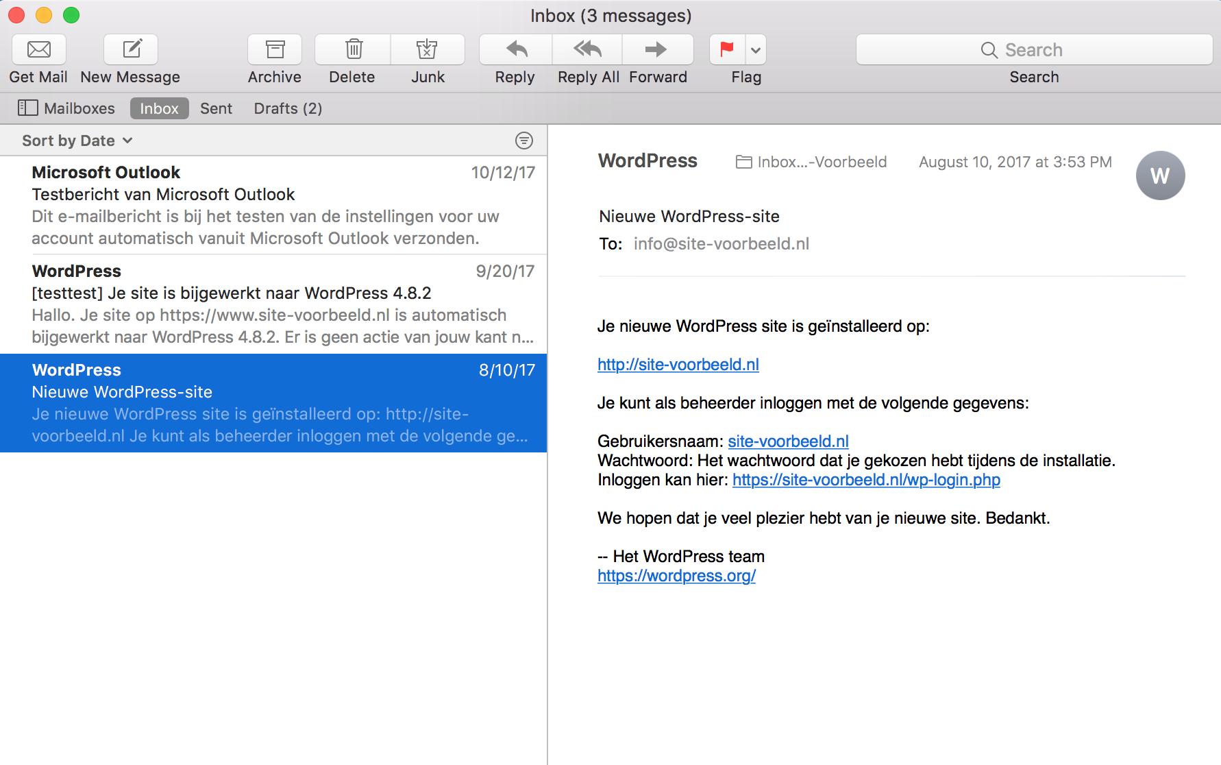 Open de Mail app en klik op de e-mail