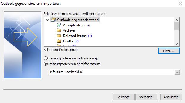 Kies de map waar je de back-up naar wilt importeren