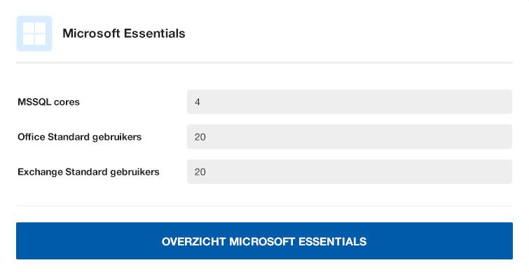 Overzicht Microsoft Essentials Licenties