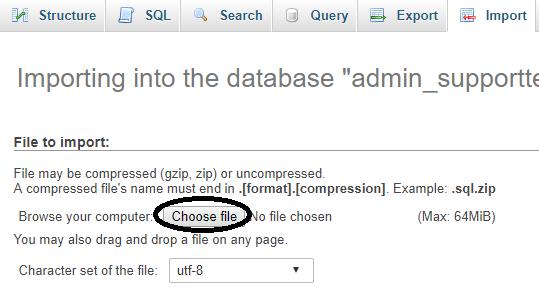 phpMyAdmin select import file