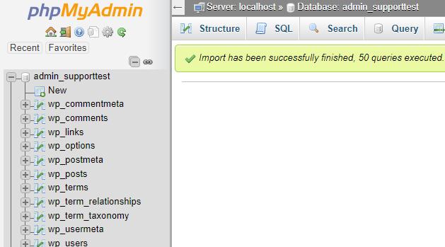 phpMyAdmin database import succeeded