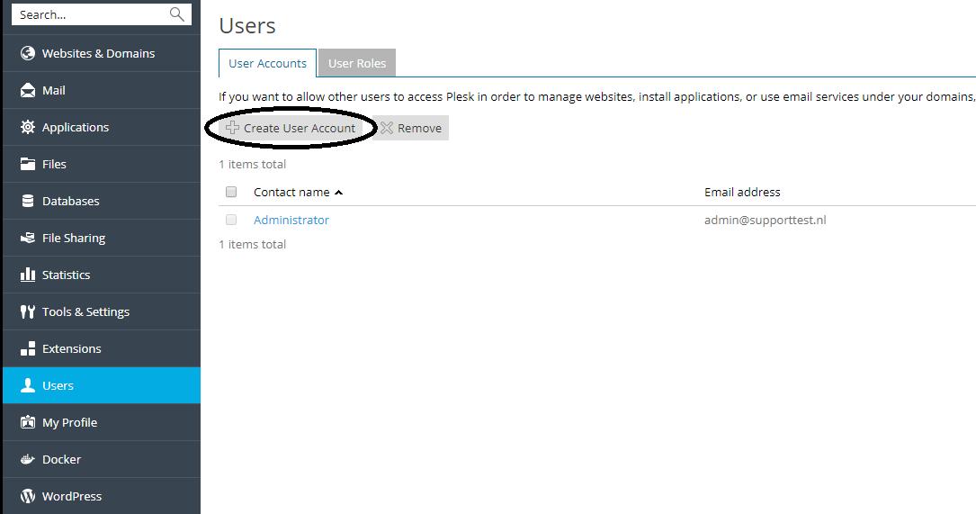 plesk create user account