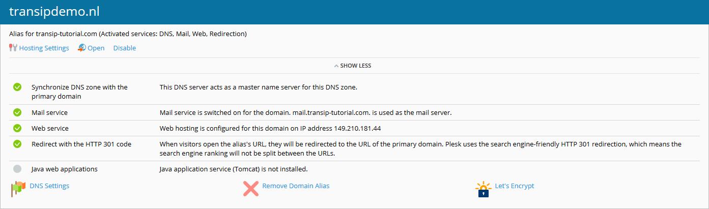 plesk domein alias beheren