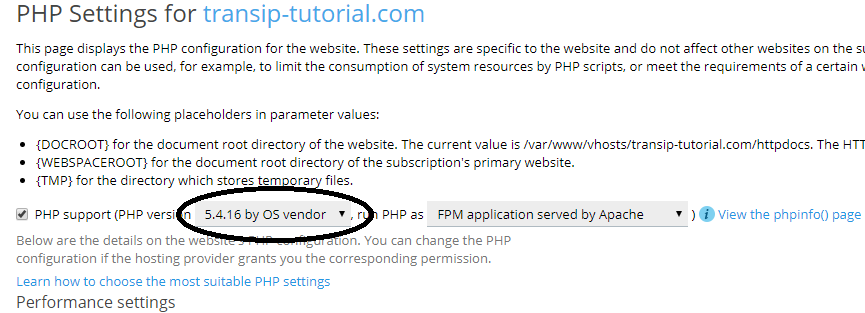 plesk domain php settings