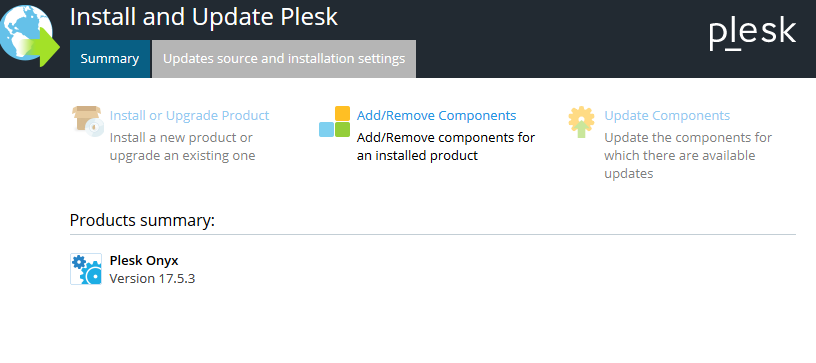 plesk add or remove components