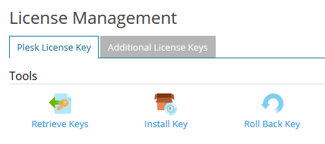 plesk license management retrieve keys