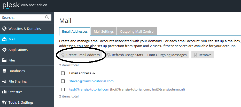 plesk mail create email address