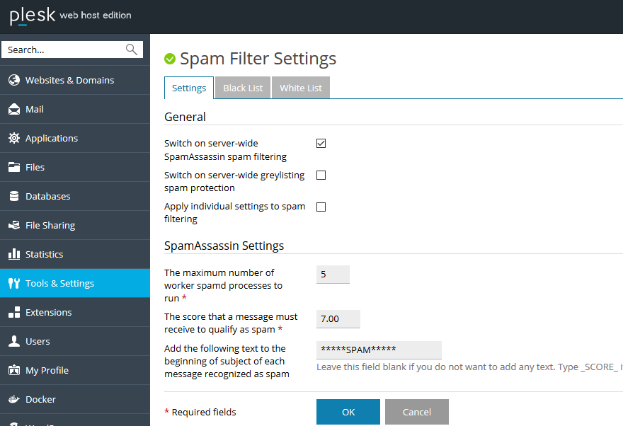 plesk spam filter settings
