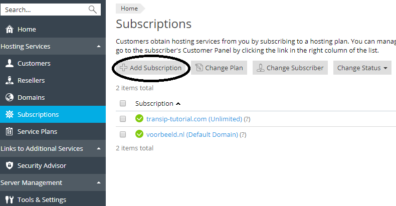 plesk subscriptions add subscription