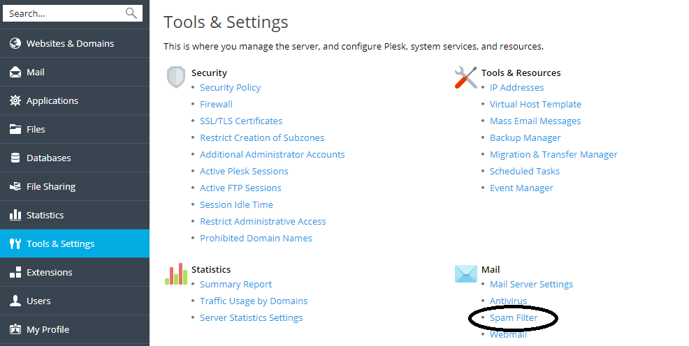 plesk tools and settings spam filter